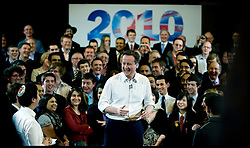 Leader of the Conservative Party David Cameron during a rally in Bury during the 2010 General Election Campaign, Wednesday April 14, 2010. Photo By Andrew Parsons / i-Images.