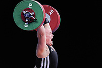 Kevin BOULY (FRA) in the clean and jerk, The London Prepares Weightlifting Olympic Test Event, ExCel Arena, London, England December 11, 2011.
