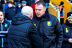 Mansfield Town manager Graham Coughlan and Grimsby Town manager Ian Holloway shake hands before kick off - Mandatory by-line: Ryan Crockett/JMP - 04/01/2020 - FOOTBALL - One Call Stadium - Mansfield, England - Mansfield Town v Grimsby Town - Sky Bet League Two