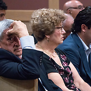 AUGUST 13, 2018---FORT LAUDERDALE, FLORIDA--<br /> Relatives of Pablo Ibar listen to legal arguments during a hearing to schedule his new trial. Candido Ibar, Pablo's father, is on the left. Ibar has been in jail  for 24 years accused of the murders of a bar owner and two models in his house following a home invasion.<br /> (Photo by Angel Valentin)
