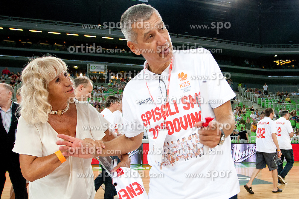 Biserka Petrovic with her son Aleksandar Aco Petrovic during friendly basketball match between National teams of Slovenia and Croatia of Adecco Ex-Yu Cup 2012 as part of exhibition games 2012, on August 4, 2012, in Arena Stozice, Ljubljana, Slovenia. (Photo by Matic Klansek Velej / Sportida)
