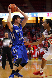 17 February 2016: Niels Bunschoten defended by Tony Wills(12) during the Illinois State Redbirds v Indiana State Sycamores at Redbird Arena in Normal Illinois (Photo by Alan Look)