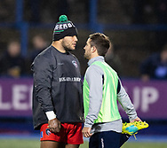 Ellis Genge of Leicester Tigers with Matthew Morgan of Cardiff Blues during the pre match warm up<br /> <br /> Photographer Simon King/Replay Images<br /> <br /> European Rugby Challenge Cup Round 2 - Cardiff Blues v Leicester Tigers - Saturday 23rd November 2019 - Cardiff Arms Park - Cardiff<br /> <br /> World Copyright © Replay Images . All rights reserved. info@replayimages.co.uk - http://replayimages.co.uk