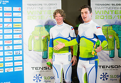 Klemen Kosi and Miha Kuerner during the Ski Association of Slovenia Fashion Show where Slovene Ski Legends and current Slovenian World Cup skiers present new SLOSKI Alpine official clothing design at Day 1 of FIS Alpine Ski World Cup 54th Vitranc Cup 2015, on March 14, 2015 in Kompas Hotel, Kranjska Gora, Slovenia. Photo by Vid Ponikvar / Sportida