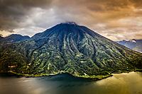 Aerial view of dormant San Pedro volcano on Lake Atitlan in Guatemala.