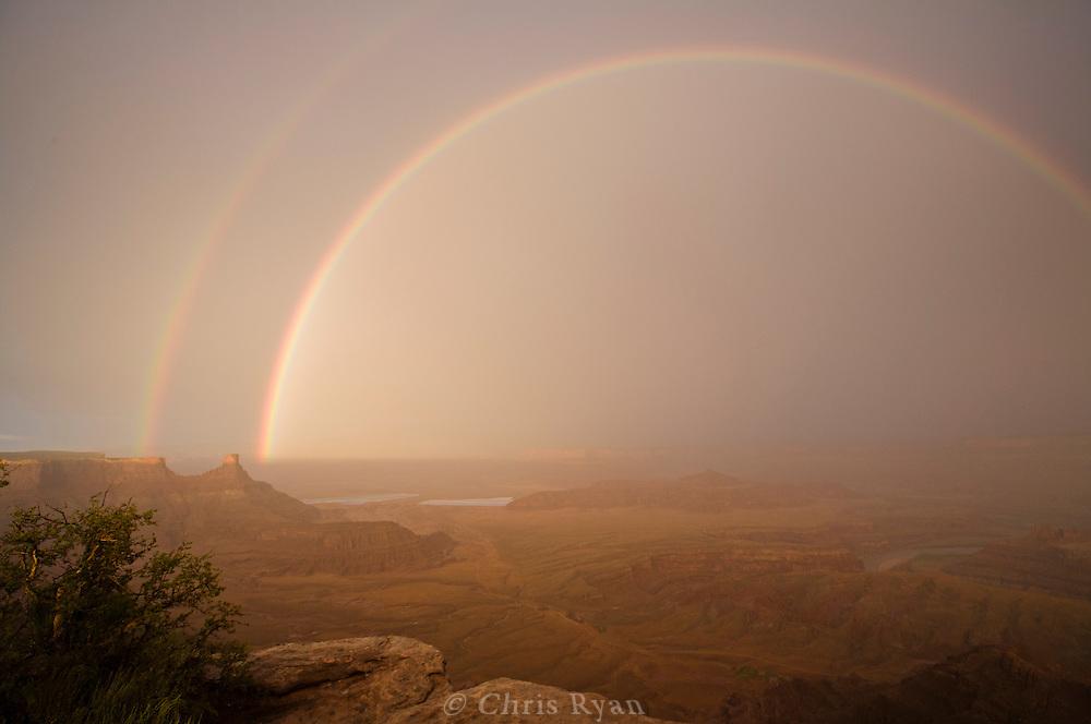 Double rainbow at sunset, Deadhorse Point, Utah