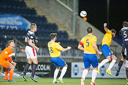 Falkirk's David McCracken scoring their goal. <br /> Falkirk 1 v 0 Cowdenbeath, Scottish Championship game played 31/3/2015 at The Falkirk Stadium.