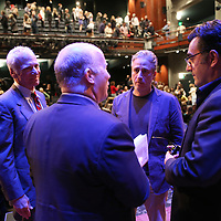 Dean Ed Wasserman (L) and Professor Mark Danner speak with Director Jon Stewart and Iranian Canadian journalist Maziar Bahari about the film Rosewater at the Berkeley Repertory Theatre on Tuesday, Oct 21, 2004. (Photo/Alex Menendez/ UC Berkeley Graduate School of Journalism)