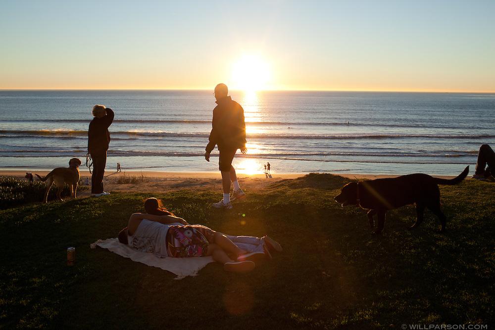 San Diego's Pacific Beach community at sunset, Dec. 12, 2010.