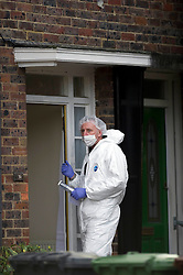 © Licensed to London News Pictures. 27/11/2010 Borehamwod, UK. .Forensic officers at Beech Drive, Borehamwood, Hertfordshire, where babysitter Katie Briscoe, 19 was stabbed to death while looking after her nephew and neice..Photo credit : Simon Jacobs/LNP