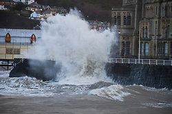 © London News Pictures. 01/02/2014. Aberystwyth, UK. Waves crash on to the seafront at Aberystwyth in Wales where locals are braced for further storms battering the coastline. The seafront at Aberystwyth was badly damaged by strong storm weather just a few weeks ago. Photo credit: Keith Morris/LNP