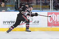 KELOWNA, CANADA - FEBRUARY 18: Turner Elson #10 of the Red Deer Rebels takes a shot as the Red Deer Rebels visit the Kelowna Rockets on February 18, 2012 at Prospera Place in Kelowna, British Columbia, Canada (Photo by Marissa Baecker/Shoot the Breeze) *** Local Caption ***