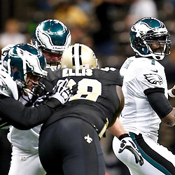 November 5, 2012; New Orleans, LA, USA; Philadelphia Eagles quarterback Michael Vick (7) throws against the New Orleans Saints during the second half of a game at the Mercedes-Benz Superdome. The Saints defeated the Easgles 28-13. Mandatory Credit: Derick E. Hingle-US PRESSWIRE