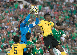 July 23, 2017 - Pasadena, California, U.S - Jamaican goalkeeper Dwayne Miller #13 catches the ball during the Mexico v. Jamaica Gold Cup Semifinal game at the Rose Bowl in Pasadena, California on Sunday July 23, 2017. Jamaica defeats Mexico, 1-0. (Credit Image: © Prensa Internacional via ZUMA Wire)
