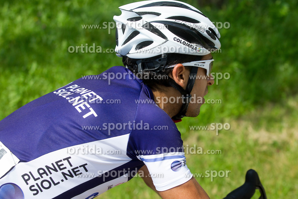 Navarro Daliver Ospina (COL) of Colombia Coldeportes in blue jersey  during Stage 3 from Skofja Loka to Vrsic (170 km) of cycling race 20th Tour de Slovenie 2013,  on June 15, 2013 in Slovenia. (Photo By Vid Ponikvar / Sportida)