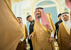 File Photo - Saudi King Salman Bin Abdelaziz Al Saud seen during a ceremony in Riyadh, Saudi Arabia on October 19, 2017. A new Saudi anti-corruption body has detained 11 princes, four sitting ministers and dozens of former ministers, media reports say. The detentions came hours after the new committee, headed by Crown Prince Mohammed bin Salman, was formed by royal decree. Photo by Balkis Press/ABACAPRESS.COM  | 613892_004 Riyadh Arabie Saoudite Saudi Arabia