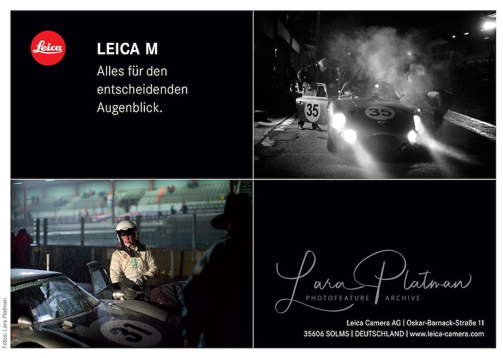 Leica uses Lara Platman's photographs for post card at historic race meeting to celebrate the Leica M