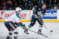 KELOWNA, CANADA - APRIL 5: Jared Hauf #33 of the Seattle Thunderbirds makes a pass against the Kelowna Rockets on April 5, 2014 during Game 2 of the second round of WHL Playoffs at Prospera Place in Kelowna, British Columbia, Canada.   (Photo by Marissa Baecker/Getty Images)  *** Local Caption *** Jared Hauf;