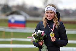 Balkan Champion Marusa Mismas of Slovenia posing with a gold medal after she won in the U23 Category of Balkan CC Championships 2015, on November 22, 2015 in Vrbovec, Croatia. Photo by Ales Hostnik / Sportida