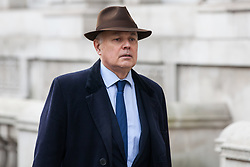 London, UK. 6th December, 2018. Iain Duncan Smith, Conservative MP for Chingford and Woodford Green, arrives for a Privy Council meeting at the Cabinet Office.