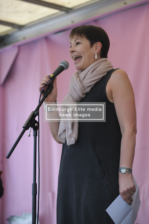 Green Party MP Caroline Lucas  addresses the gathered crowds in Marble Arch as Extinction Rebellion begin their second week of protest. <br /> <br /> Richard Hancox | EEm 22042019