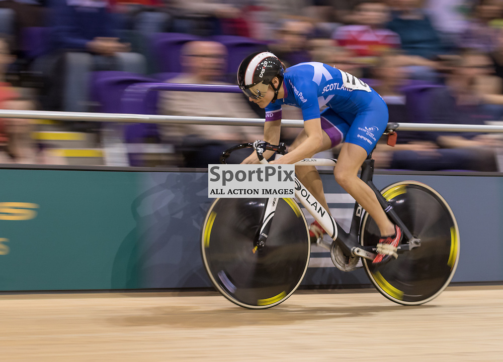 Ellie Richardson (Edinburgh RC) during the UCI Sprint – Qualification 200m Time Trial – Women.  Revolution 55 Track Cycling Glasgow, 28th November 2015