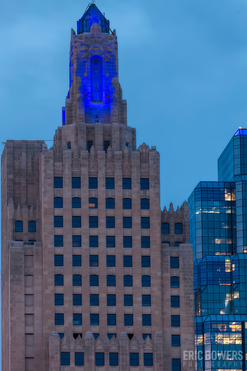 vertical photos of power and light building highrise in downtown kansas city lit blue for - Blue Apartment 2015
