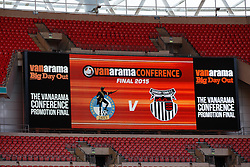 General View of the big screen in Wembley before kick off - Photo mandatory by-line: Rogan Thomson/JMP - 07966 386802 - 17/05/2015 - SPORT - FOOTBALL - London, England - Wembley Stadium - Bristol Rovers v Frimsby Town - Vanarama Conference Premier Play-off Final.
