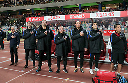 November 14, 2017 - Leiria, Leiria, Portugal - Leiria, Portugal - Tuesday November 14, 2017: USMNT bench during an International friendly match between the United States (USA) and Portugal (POR) at Estádio Dr. Magalhães Pessoa. (Credit Image: © John Dorton/ISIPhotos via ZUMA Wire)