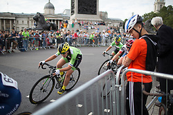 Rachele Barbieri (ITA) of Cylance Pro Cycling rides through Trafalgar Square during the Prudential RideLondon Classique, a 66 km road race in London on July 30, 2016 in the United Kingdom.