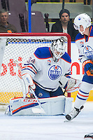 PENTICTON, CANADA - SEPTEMBER 16: Nick Ellis #34 of Edmonton Oilers makes a save against the Edmonton Oilers on September 16, 2016 at the South Okanagan Event Centre in Penticton, British Columbia, Canada.  (Photo by Marissa Baecker/Shoot the Breeze)  *** Local Caption *** Nick Ellis;