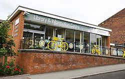 © Licensed to London News Pictures. 16/06/2017. Birstall, UK.  General view of the Library ahead of the the ceremony.  500 school children from nine schools in the Birstall area that have joined together in Heckmondwike Green to sing songs in memory of MP Jo Cox this morning. Today marks the one year anniversary of the death of Labour MP for Batley & Spen Jo Cox. Jo Cox died after being shot & stabbed by Thomas Mair outside Birstall library where she had been due to hold a constituency surgery. Photo credit: London News Pictures