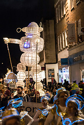 ¨© Licensed to London News Pictures. 31/01/2018. Truro, UK.  The Truro Festival on Lights takes place in the town of Truro, Cornwall, IUK, on the same night as the Blue moon and super moon. The City of Lights procession includes music, dance, lanterns made by schools and community groups.  Photo credit: Mark Hemsworth/LNP