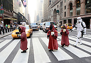 Characters from a galaxy far far away invade Manhattan, Thursday, Sept. 15, 2011, for the release of Star Wars: The Complete Saga on Blu-ray, which goes on sale tomorrow. (Stuart Ramson for Fox Home Entertainment)