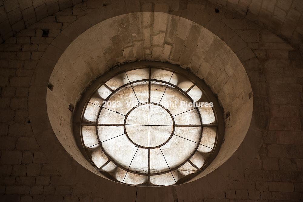 An interior view of a window at Notre-Dame de Senanque Abbey
