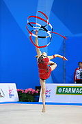 Kosoulieva Angela of Poland competes during the rhythmic gymnastics individual ribbon qualification of the World Cup at Adriatic Arena on April 2, 2016 in Pesaro, Italy.<br />