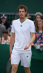 LONDON, ENGLAND - Thursday, June 30, 2011: Andy Murray (GBR) practicing on a public court during day ten of the Wimbledon Lawn Tennis Championships at the All England Lawn Tennis and Croquet Club. (Pic by David Rawcliffe/Propaganda)
