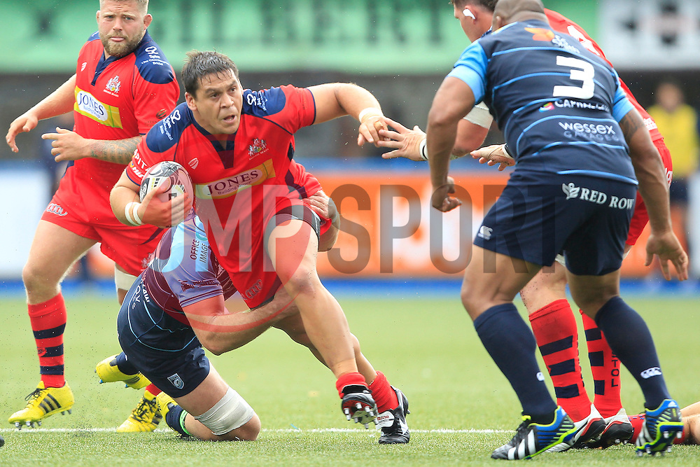 Gaston Cortes of Bristol Rugby (C) in action - Mandatory by-line: Ian Smith/JMP - 20/08/2016 - RUGBY - BT Sport Cardiff Arms Park - Cardiff, Wales - Cardiff Blues v Bristol Rugby - Pre-season friendly