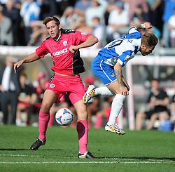 Dover Athletic's Connor Essam tackles Bristol Rovers' Matt Taylor - Photo mandatory by-line: Alex James/JMP - Mobile: 07966 386802 - 04/10/2014 - SPORT - Football - Bristol - Memorial Stadium - Bristol Rovers v Dover - Vanarama Football Conference