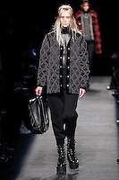 Eva Berzina (WOMEN) walks the runway wearing Alexander Wang Fall 2015 during Mercedes-Benz Fashion Week in New York on February 14, 2015