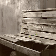 Tired old bench, Ben Franklin alley.