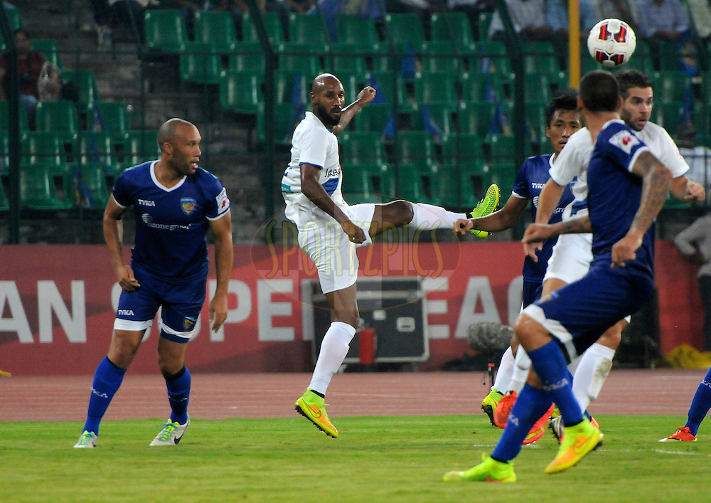 Nicolas Anelka of Mumbai City FC and Mikael Silvestre of Chennaiyin FC in action during match 15 of the Hero Indian Super League between Chennaiyin FC and Mumbai City FC held at the Jawaharlal Nehru Stadium, Chennai, India on the 28th October 2014.<br /> <br /> Photo by:  Pal Pillai/ ISL/ SPORTZPICS