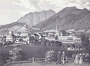 Historic etching of Bad Ischl, Austria Circa 1860
