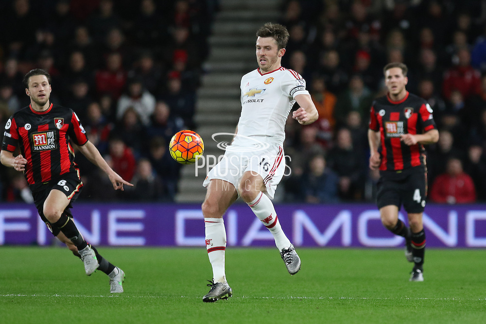 Michael Carrick during the Barclays Premier League match between Bournemouth and Manchester United at the Goldsands Stadium, Bournemouth, England on 12 December 2015. Photo by Phil Duncan.
