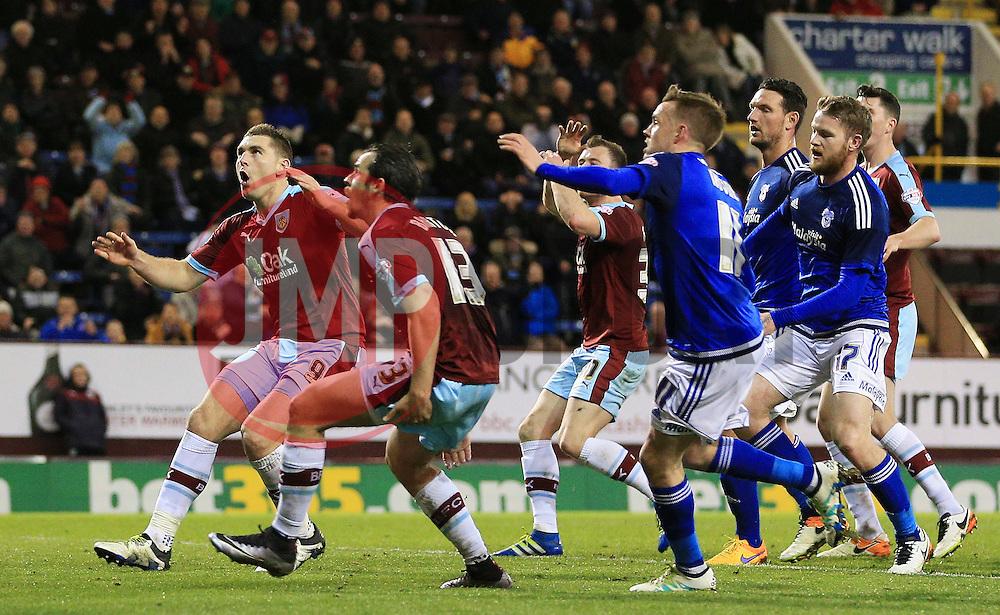 Burnley's Sam Vokes reacts after missing a header from close range - Mandatory by-line: Matt McNulty/JMP - 05/04/2016 - FOOTBALL - Turf Moor - Burnley, England - Burnley v Cardiff City - SkyBet Championship
