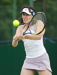 MANCHESTER, ENGLAND: Martina Hingis (SUI) on Day 4 of the Manchester Masters Tennis Tournament at the Northern Tennis Club. (Pic by David Tickle/Propaganda)