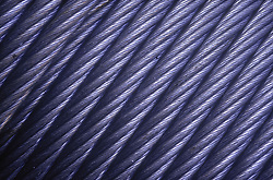 Closeup of roll of metal cable,