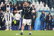 Juventus Defender Giorgio Chiellini gestures in warm up during the Champions League Group H match between Juventus FC and Manchester United at the Allianz Stadium, Turin, Italy on 7 November 2018.