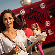 UVU students for recruitment lifestyle shoot at food truck in Provo and Alloy Apartments in Orem, Utah Thursday July 3, 2015. (August Miller, UVU Marketing)
