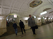 Die Metrostation Weißrussischer Bahnhof (Belorusskaja) in der russischen Metropole Moskau. <br /> <br /> Belorusskaya is a station on the Moscow Metro's Koltsevaya Line. It is named for the nearby Belarus rail terminal and is sometimes referred to as Belorusskaya-Koltsevaya to distinguish it from the station of the same name on the Zamoskvoretskaya Line in Moscow.